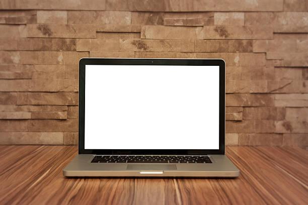 Laptop mockup with empty screen. Stock Image stock photo