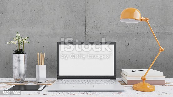 Direct view at an open laptop with blank monitor on a wooden desk. There are pencils, tablet, a green plant. Orange lamp. Dark gray background. Letterbox mockup interior render. no people.