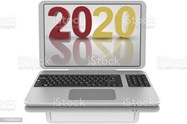 Laptop. New Year 2020. 2020 replaces 2019 - 3D illustration