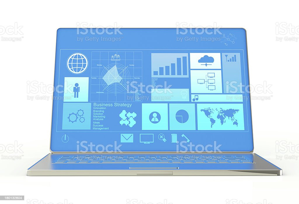 laptop notebook ultrabook with new inteface stock photo