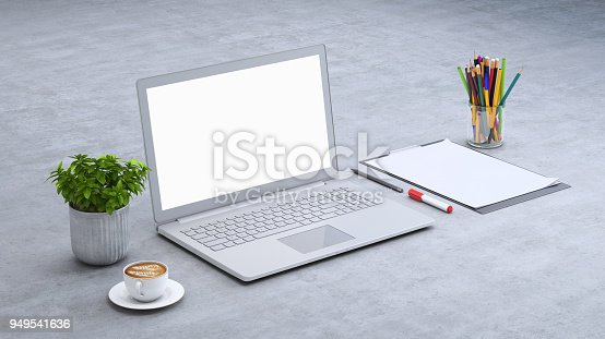 istock Laptop on a desk with accessories, blank screen mock-up isometric 949541636