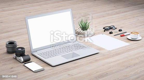 istock Laptop on a desk with accessories, blank screen mock-up isometric 949541646