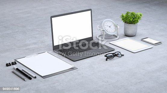 istock Laptop on a desk with accessories, blank screen mock-up isometric 949541896