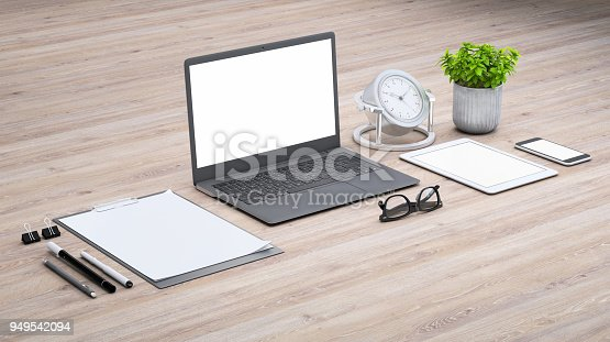 istock Laptop on a desk with accessories, blank screen mock-up isometric 949542094