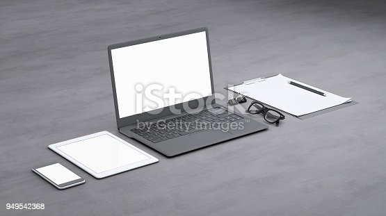 istock Laptop on a desk with accessories, blank screen mock-up isometric 949542368