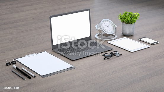 istock Laptop on a desk with accessories, blank screen mock-up isometric 949542418