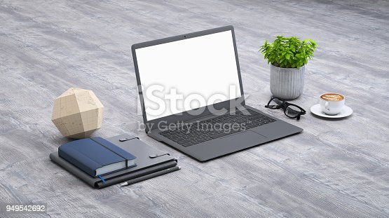 istock Laptop on a desk with accessories, blank screen mock-up isometric 949542692