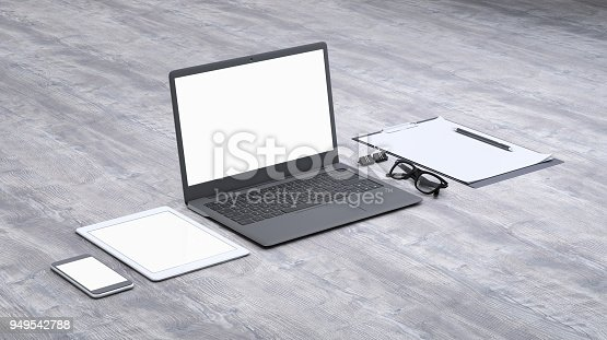 istock Laptop on a desk with accessories, blank screen mock-up isometric 949542788