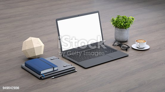 istock Laptop on a desk with accessories, blank screen mock-up isometric 949542936