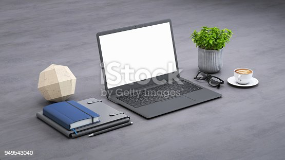 istock Laptop on a desk with accessories, blank screen mock-up isometric 949543040