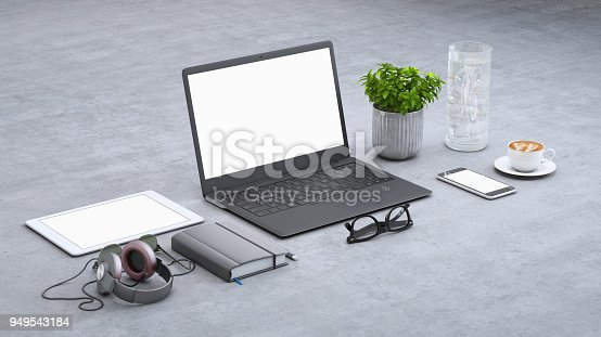 istock Laptop on a desk with accessories, blank screen mock-up isometric 949543184