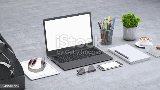 istock Laptop on a desk with accessories, blank screen mock-up isometric 949543726