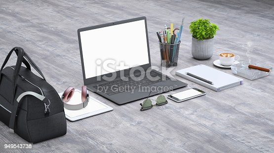 949542094 istock photo Laptop on a desk with accessories, blank screen mock-up isometric 949543738