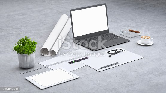 istock Laptop on a desk with accessories, blank screen mock-up isometric 949543742