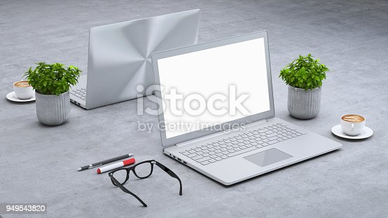 istock Laptop on a desk with accessories, blank screen mock-up isometric 949543820