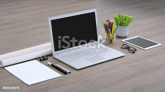 istock Laptop on a desk with accessories, blank screen mock-up isometric 955345878