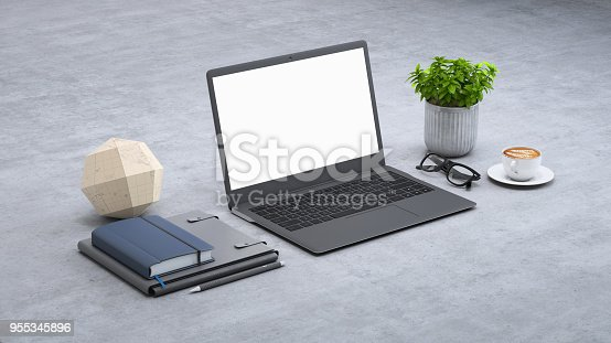istock Laptop on a desk with accessories, blank screen mock-up isometric 955345896