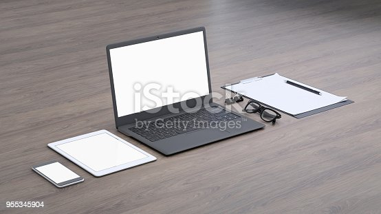 istock Laptop on a desk with accessories, blank screen mock-up isometric 955345904