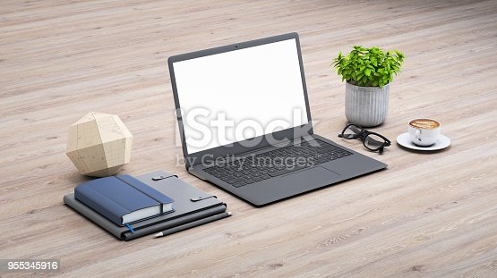 istock Laptop on a desk with accessories, blank screen mock-up isometric 955345916