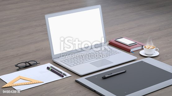 istock Laptop on a desk with graphic tablet, blank screen mock-up isometric 949543816
