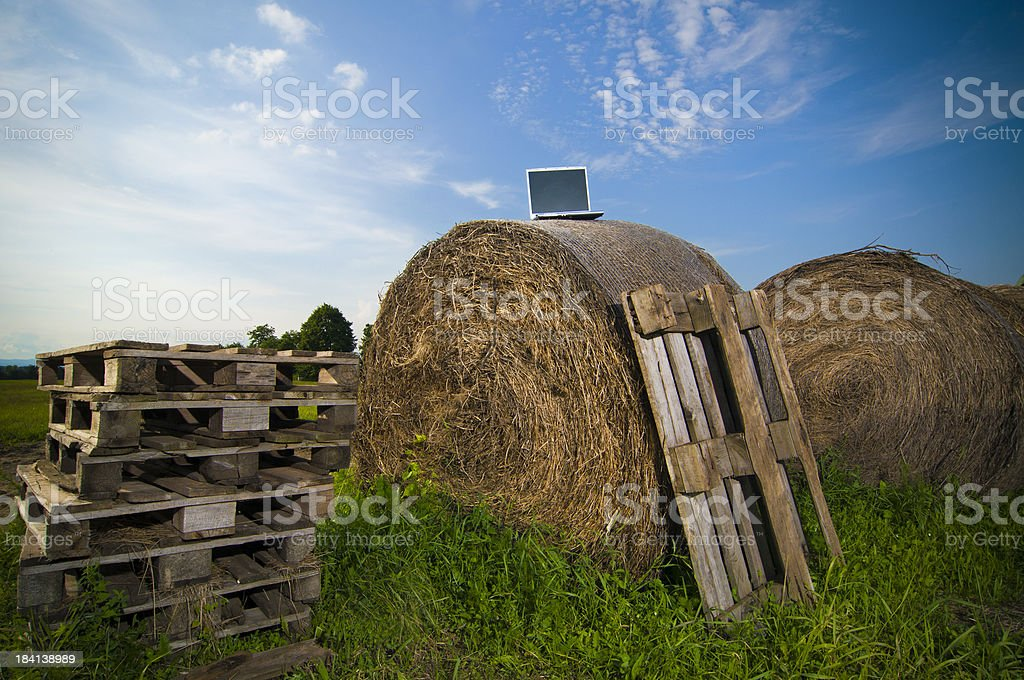 Laptop on bale royalty-free stock photo