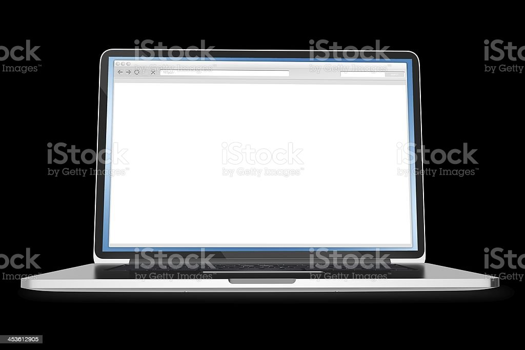 Laptop on Black Background stock photo