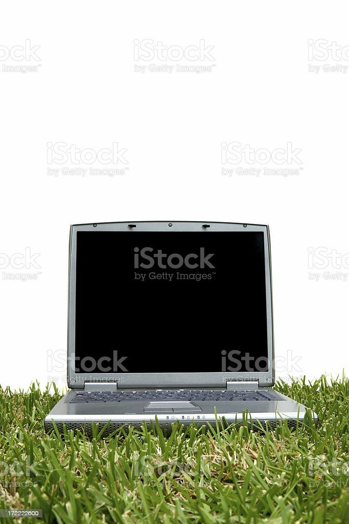 Laptop on Grass royalty-free stock photo