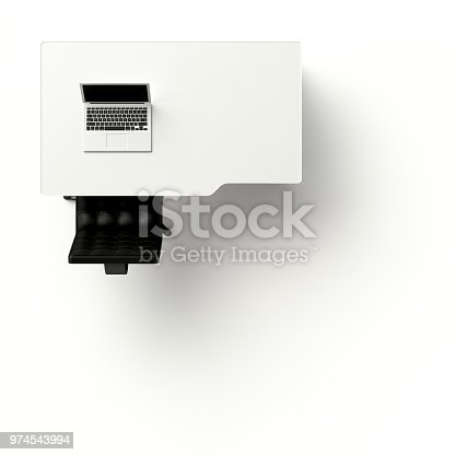 istock Laptop on table and chair white color top view 974543994