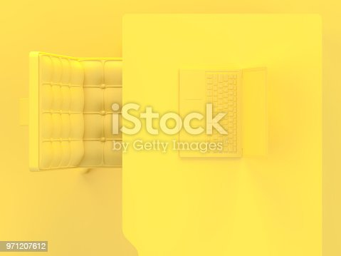 istock Laptop on table and chair yellow  color top view 971207612