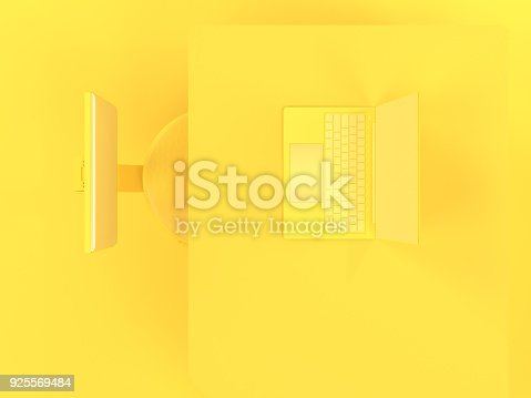 istock Laptop on table and chair yellow pastel color top view 925569484