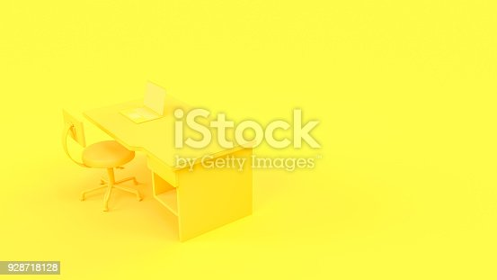 istock Laptop on table and chair yellow pastel color with copy space 928718128
