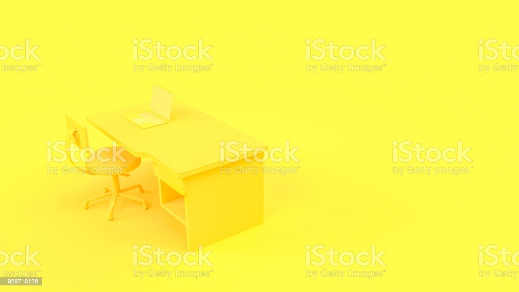 Laptop on table and chair yellow pastel color with copy space stock photo