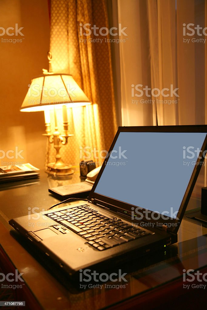 Laptop On Table At Night royalty-free stock photo