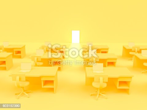 istock Laptop on table whit chair and door business concept 923152390
