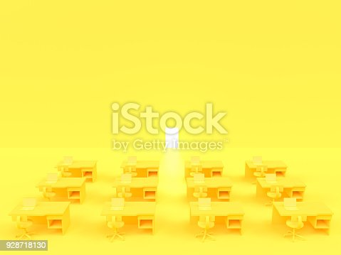 istock Laptop on table whit chair and door yellow pastel color with copy space 928718130