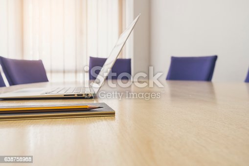 istock Laptop on Table with seats Business Office Meeting Boardroom 638758988