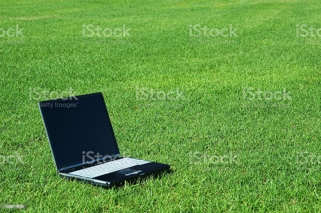 Laptop on the Grass royalty-free stock photo