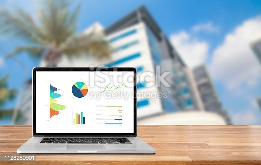 1133586715istockphoto Laptop on wooden table showing charts and graph against blur cityscape with tower background 1128280901
