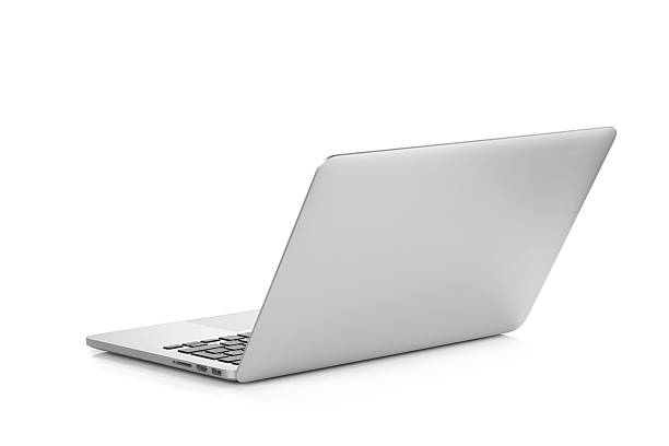 a laptop open against a white background - rear view stock photos and pictures
