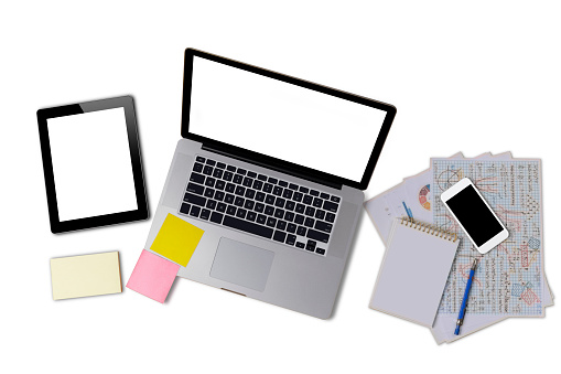 Laptop or notebook, mobilephone or smartphone, tablet with blank white screen on white background save with clipping path. Laptop with empty screen for text or design.