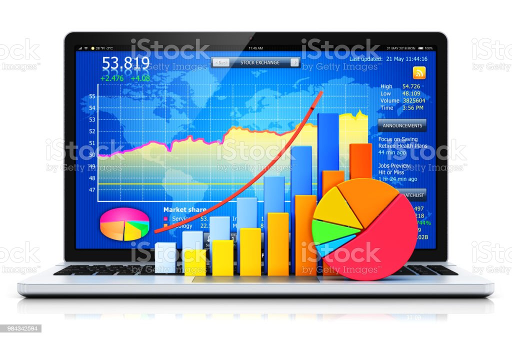 Laptop Or Notebook With Bar Graph And Pie Chart Stock Photo More