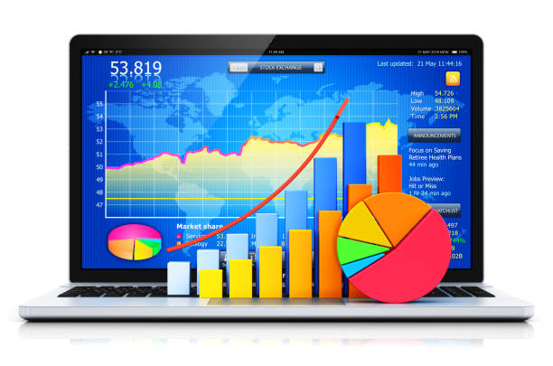 Laptop or notebook with bar graph and pie chart stock photo