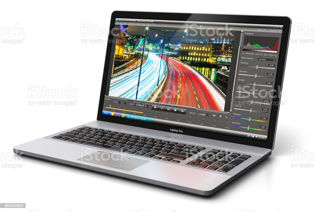 Laptop oder Notebook mit Video-editing-software – Foto