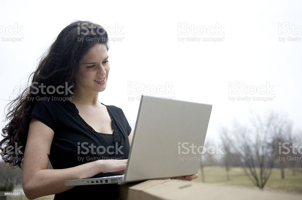 Laptop outside royalty-free stock photo