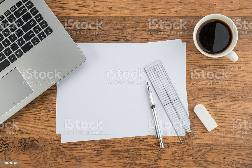 Laptop paper pen ruler and eraser with cup of coffee stock photo blueprint computer desk desktop pc document laptop paper pen malvernweather Image collections