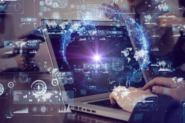 laptop pc and information technology concept. - business woman hologram imagens e fotografias de stock