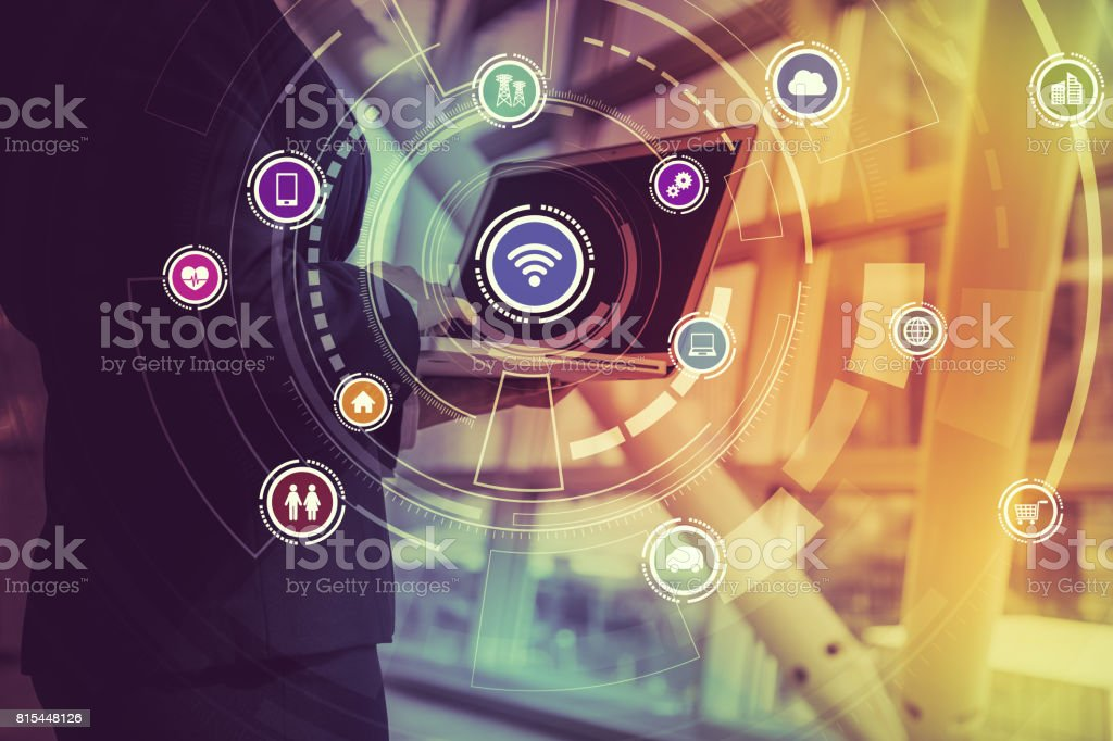 laptop PC and Internet of Things, abstract image visual stock photo