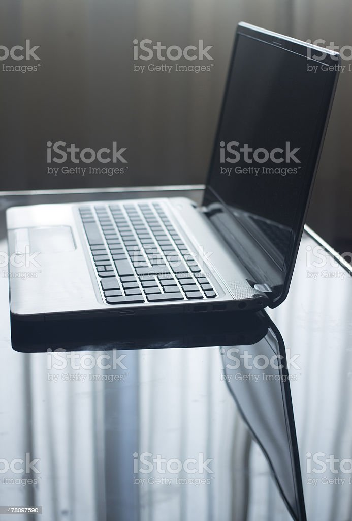 Laptop Pc Portable Computer Keyboard Screen On Table Stock Photo
