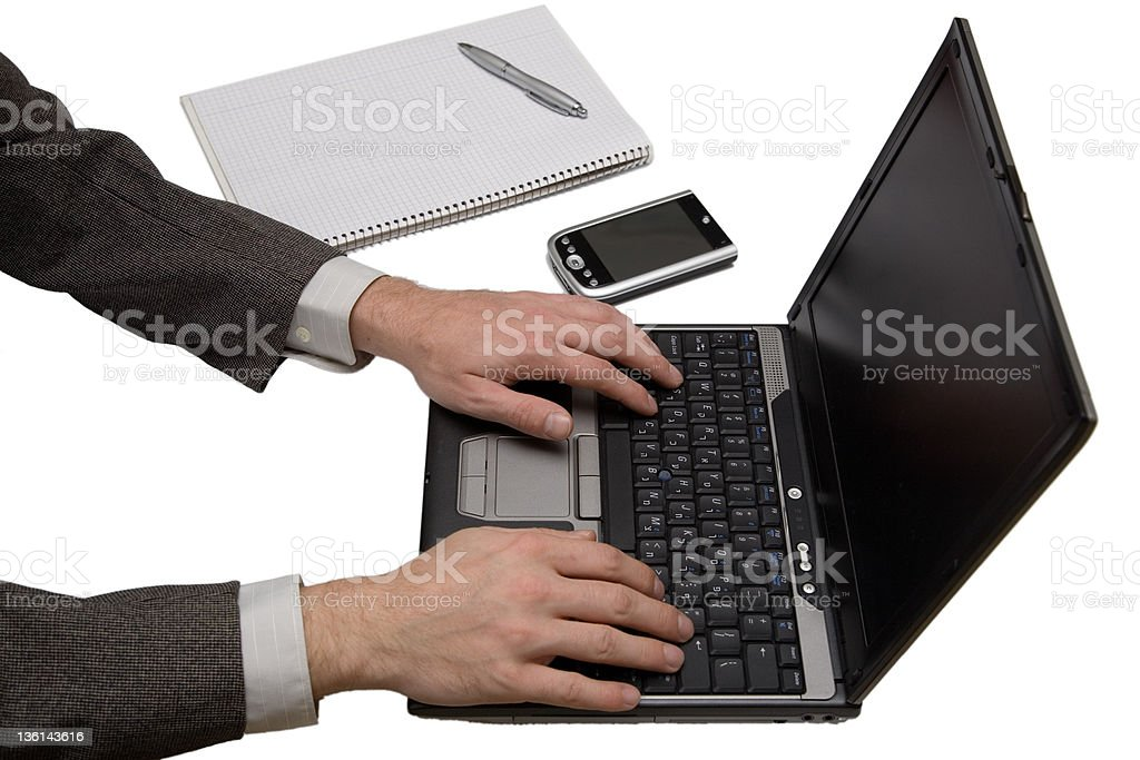 Laptop PDA cellphone and paper royalty-free stock photo