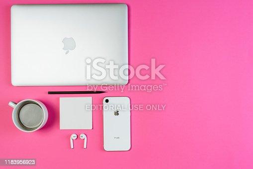 1202959798istockphoto Laptop Phone Coffee on Pink Workspace Flat Lay 1183956923